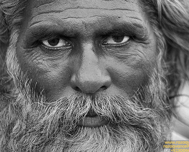 Portrait Of A Graceful Mystic Man From A Shrine in Punjab Pakistan