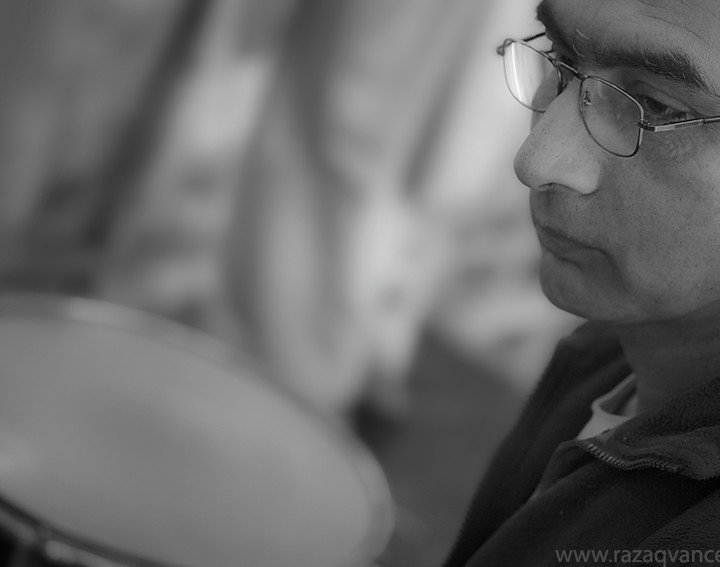 Black And White Portrait Of The Drummer
