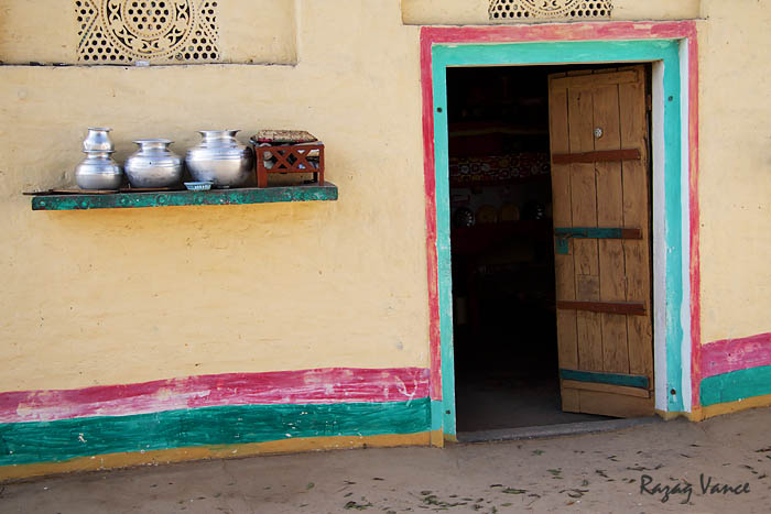 Decorated And Painted Walls Of Mud Houses In Remote Villages Of Punjab Pakistan