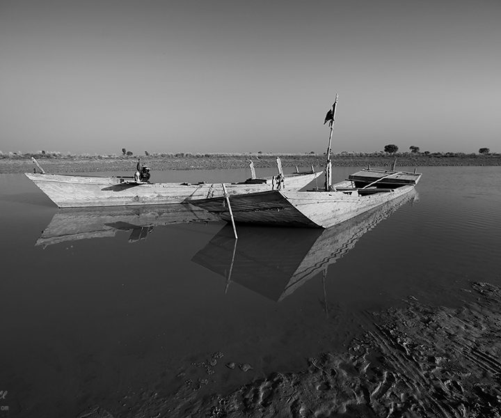 Parked Boats in the River Ravi in a Spring Evening